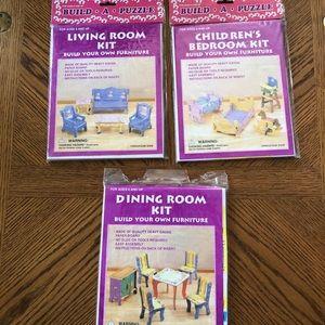 Dollhouse Furniture BUILD-A-PUZZLE Kits